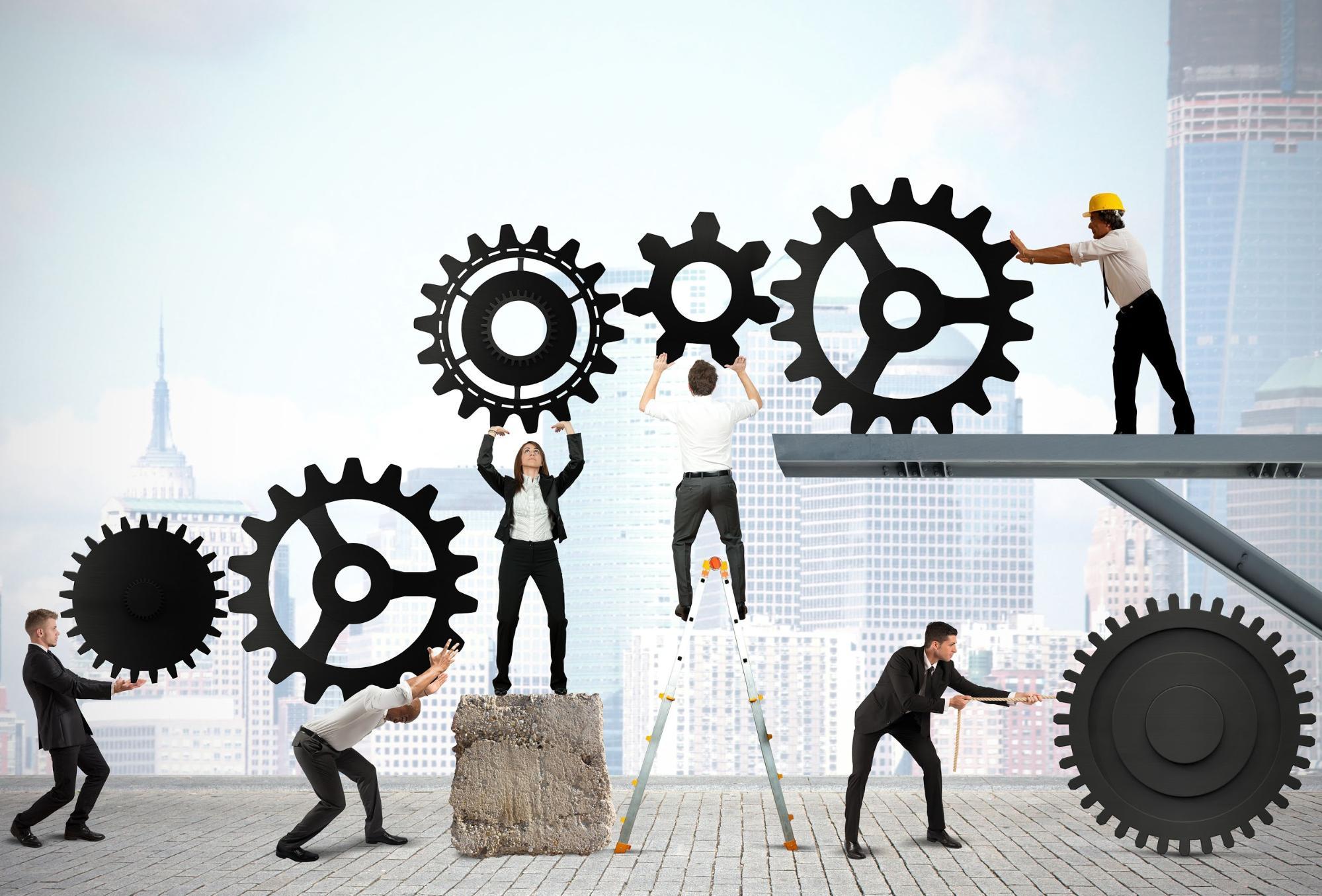 gráfico gente trabajando en equipo